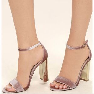 Steve Madden Carrson Pink Suede Gold Mirrored Heel